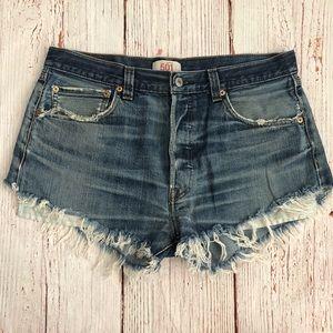 Levi's distressed denim shorts, perfectly worn